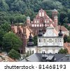 Panoramic view, Vilnius old town . St. Anne's, St. Francis of Assisi, St. Michail church. - stock photo