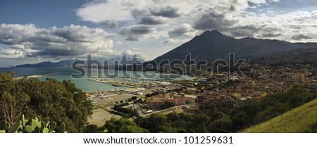 Panoramic view with big clouds at port of Termini Imerese, situated in Sicily. - stock photo