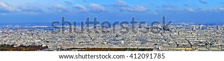 Panoramic view with Paris from Montparnasse tower. Aerial view including Louvre Museum and different historical and commercial buildings. - stock photo