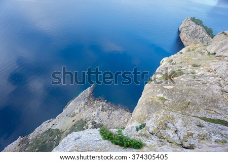 Panoramic viewpoint over Mediterranean sea - stock photo