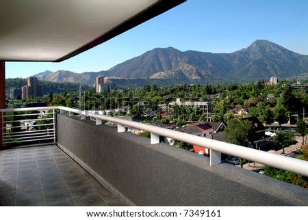 panoramic views from the balcony of an apartment - stock photo
