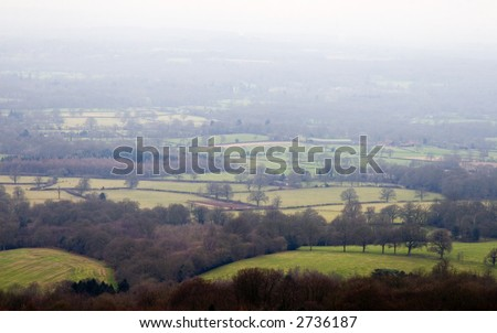 Panoramic views from the Leith Hill tower, Surrey, England - stock photo
