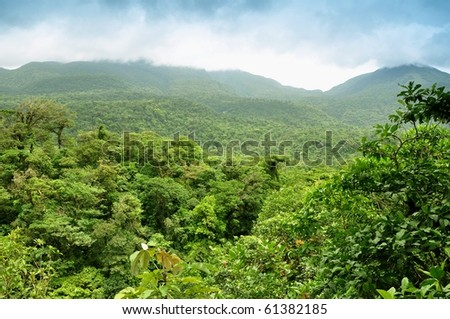 Panoramic views of jungle mountains in Costa Rica - stock photo