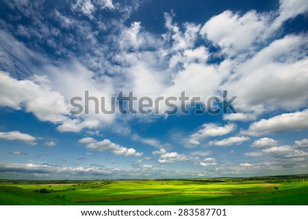panoramic views of meadows and fields - stock photo