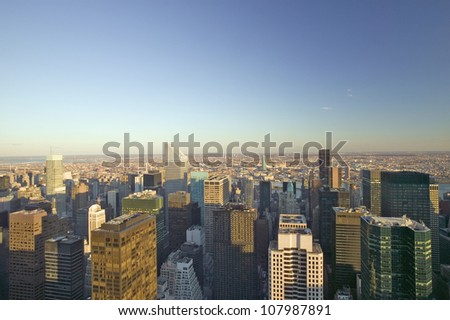 Panoramic views of New York City at sunset looking toward Central Park, New York City, New York