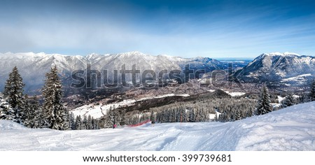 Panoramic views of the Alps and Garmisch-Partenkirchen. Garmisch-Partenkirchen ski resort, Bavarian Alps, Germany