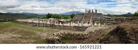 Panoramic views of the ancient Toltec ruins in the city of Tula. Mexico. - stock photo