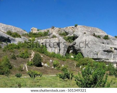 panoramic views of the Crimean rocks, where wild peoples lived years ago