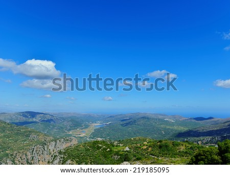 panoramic views of the mountainous part of the island of Crete. Greece  - stock photo