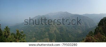 Panoramic views of the mountains and the valley, Kerala, South India