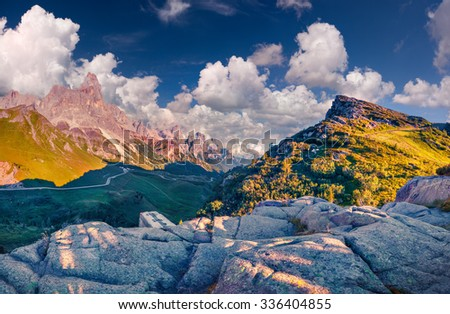 Panoramic views of the Pale di San Martino from Passo Rolle, Trentino - Dolomites, Italy. Cimon della Pala mountain ridge. - stock photo