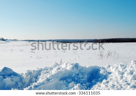 Panoramic views of the snow-covered fields and forests, Russia