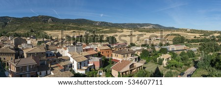 Panoramic views of the village of Loarre Aragon Huesca Spain, on the right the wheat fields already harvested, in the background the Castle Loarre