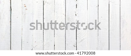 Panoramic weathered painted white wooden plank - stock photo