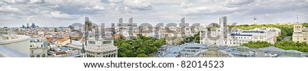 Panoramical view of the center of Madrid, Spain, with some important buildings - stock photo