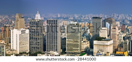 Panorma of San Paolo skyline from the banesco building, Brazil - stock photo