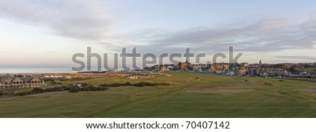 Panorma of the 1st and 18th holes on the Old Course at St Andrews - stock photo