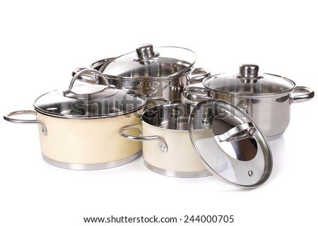 Pans isolated on white - stock photo