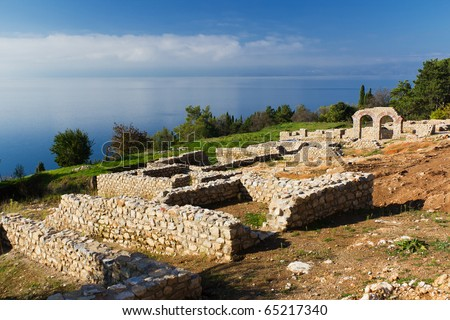 Panteleimon Ruins by St. Clement Church Overlooking Ohrid Lake in Ohrid, Macedonia - stock photo