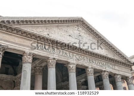 Pantheon ancient Facade in Rome - Italy - stock photo