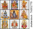 pantheon - collage of hindu gods - stock photo