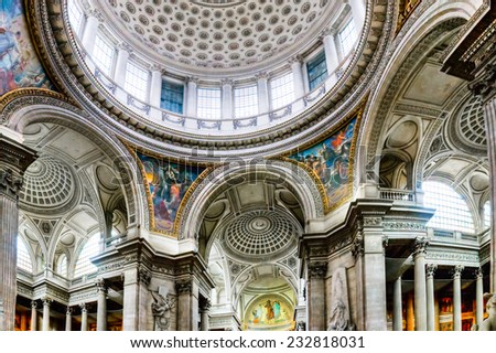 Pantheon in Paris, inside view, France - stock photo