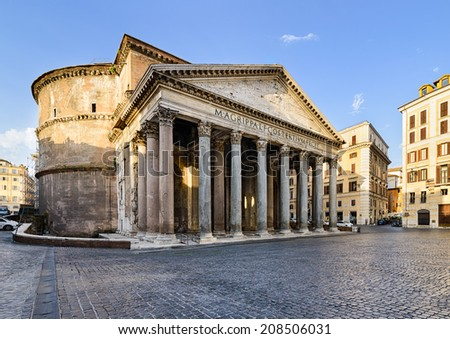 Pantheon in Rome, Italy on a sunny morning - stock photo