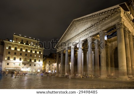 Pantheon - one of the great landmarks at Rome, Italy - stock photo