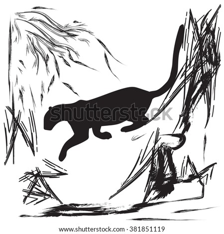Panther jumping off a cliff abstract black and white illustration     bitmap image