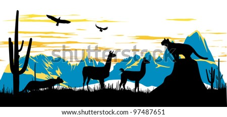 Panther, llama and eagles in the morning on the mountains background - stock photo