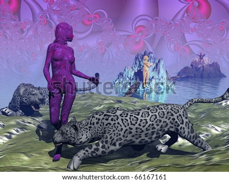 Panther Totem - stock photo