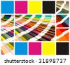 pantone and cmyk color in beautiful collage - stock photo