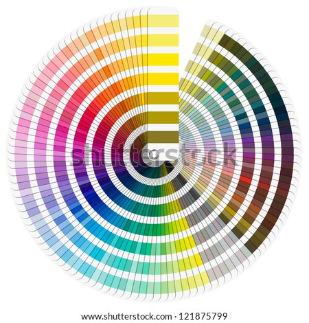Pantone Color Palette / Color palette guide isolated on white background - circle - stock photo