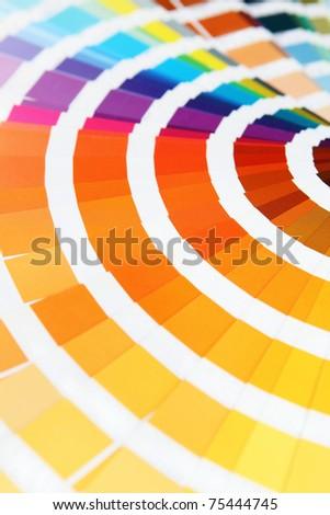 Pantone sample colors catalogue. Close up. Macro - stock photo