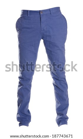 pants isolated on white, ghost fashion style of photography,, blue chinos