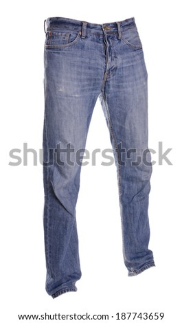 pants isolated on white, ghost fashion style of photography, blue jeans