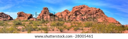 Papago park and water storage tanks Phoenix Arizona - stock photo