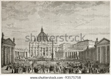Papal Easter blessing in Sant Peter's square, Rome. Created by Clerget after photo of unknown author, published on Le Tour du Monde, Paris, 1867 - stock photo