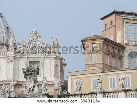 papal residence and part of St Peters basilica in Vatican City, Rome Italy - stock photo