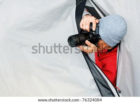 Paparazzi at work - stock photo