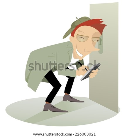 Paparazzi or detective spying through the keyhole - stock photo