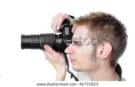 paparazzi takes a picture directly at you, isolated on white background. - stock photo