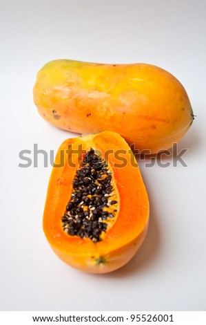 papaya for healthy food on white background