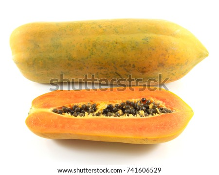 Papaya fruit is good for health and excretory isolated on white background.Everyone can eat. Because it is healthy.