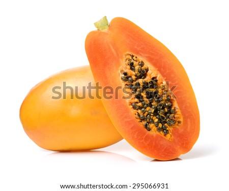 Papaya fruit isolated on a white background - stock photo