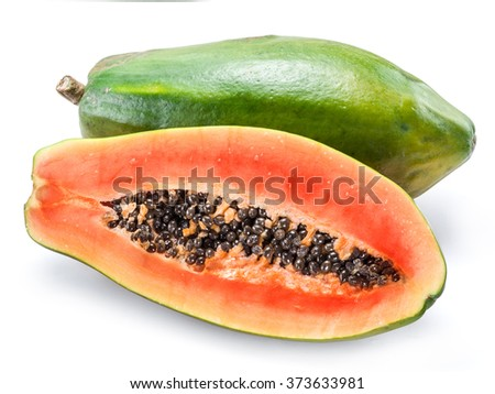 Papaya fruit isolated on a white background.