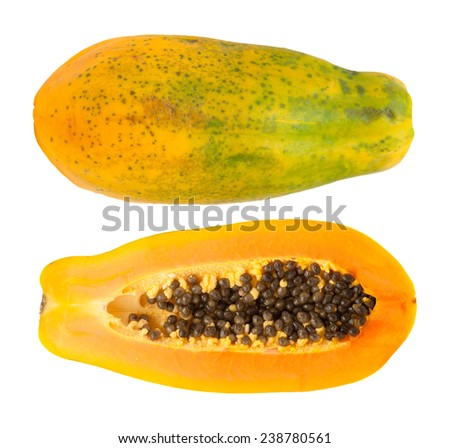 papaya fuit cut in half  isolated on white backgound - stock photo