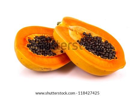 papaya in white background - stock photo
