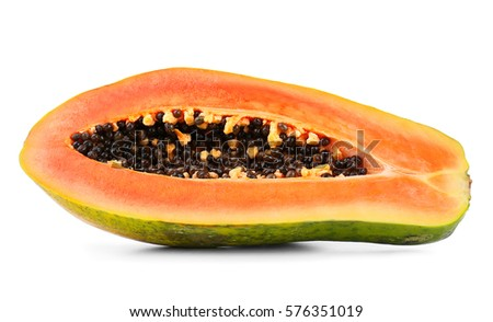 Papaya, isolated on white