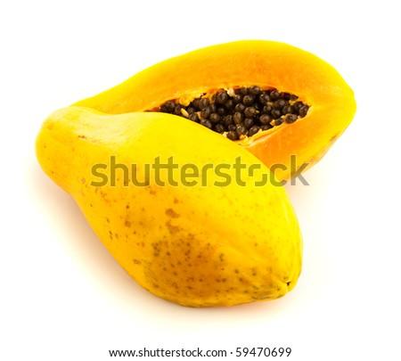 papaya on white background. - stock photo